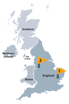 Map of UK depots